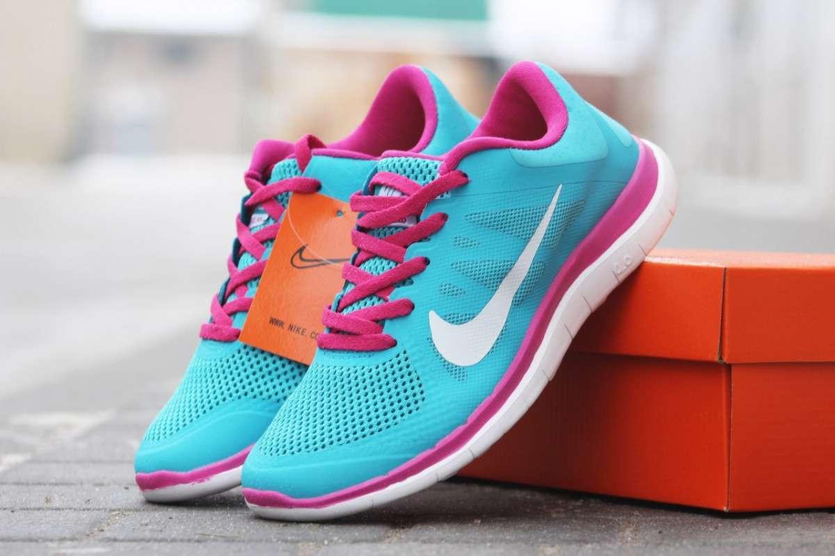 baec5787 Женские кроссовки Nike Free Run 4 0 голубые с розовым 1666 35,36,37 ...