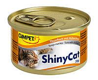 Консервы Gimpet Shiny Cat для кошек, c тунцом и курицей, 70г