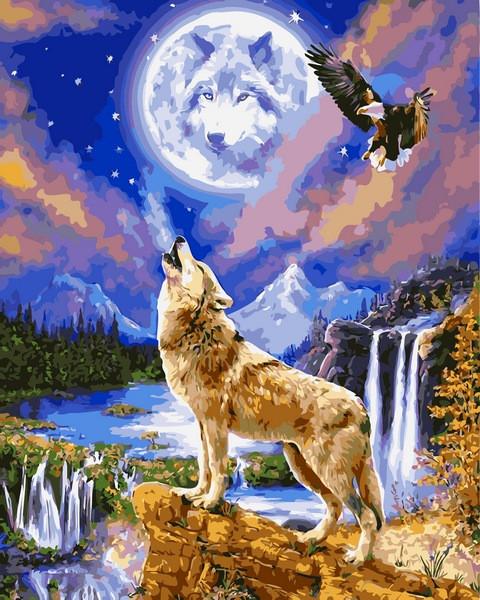 Картина по номерам 40×50 см. Волчья ночь
