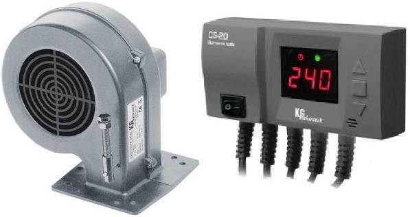 Блок управления KG ELEKTRONIK CS-20 + вентилятор DP-02 для твердотопливных котлов