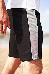 Черные шорты с светло-серой полоской