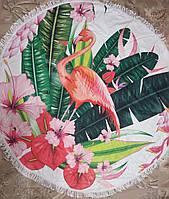 Полотенце пляжное с красивым ярким фламинго