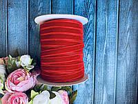 Стрічка велюр (оксамит) 1 см, 50 ярд, темно-червоного кольору, фото 1