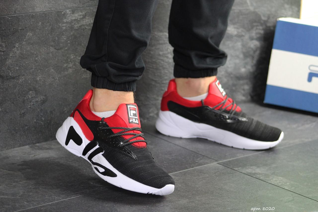 Мужские летние кроссовки Fila,черные с красным