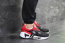 Мужские летние кроссовки Fila,черные с красным, фото 3