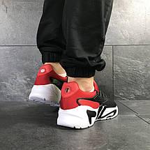 Мужские летние кроссовки Fila,черные с красным, фото 2