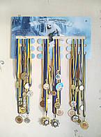 Медальница именная с Вашим фото и логотипом 52х28 см (держатель медалей) на заказ, фото 1
