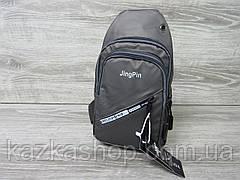 Сумка через плечо серого цвета, велосипеда на два отдела, регулируемый ремешок, материал искусственная кожа, фото 2