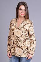 Рубашка женская коричневая с огурцами, вискоза, 44-52 р-ры