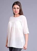 Блузка женская белая с вышивкой, хлопок, 44-56 р-ры 56