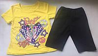 Комплект для девочки летний хлопковый желтый рост 110-116 детская одежда недорого