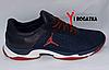 Мужские кожанные кроссовки Multi-Shoes, сетка, синие, ортопедическая стелька, легкая подошва с белым и красным, фото 4