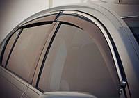 Ветровики, дефлекторы окон Kia Rio II Hatchback 5d 2005-2011 ХРОМ.МОЛДИНГ 'Cobra tuning'