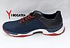 Мужские кожанные кроссовки Multi-Shoes, сетка, синие, ортопедическая стелька, легкая подошва с белым и красным, фото 3