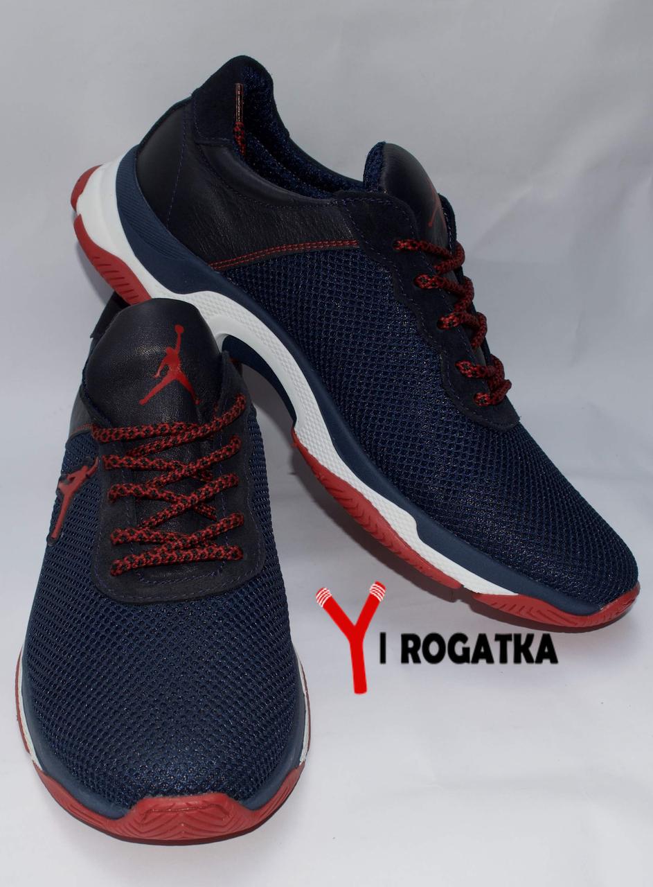 Мужские кожанные кроссовки Multi-Shoes, сетка, синие, ортопедическая стелька, легкая подошва с белым и красным