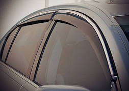 Ветровики, дефлекторы окон Peugeot 407 Sedan 2004 ХРОМ.МОЛДИНГ 'Cobra tuning'