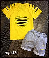 Летний комплект футболка и шорты на девочку .