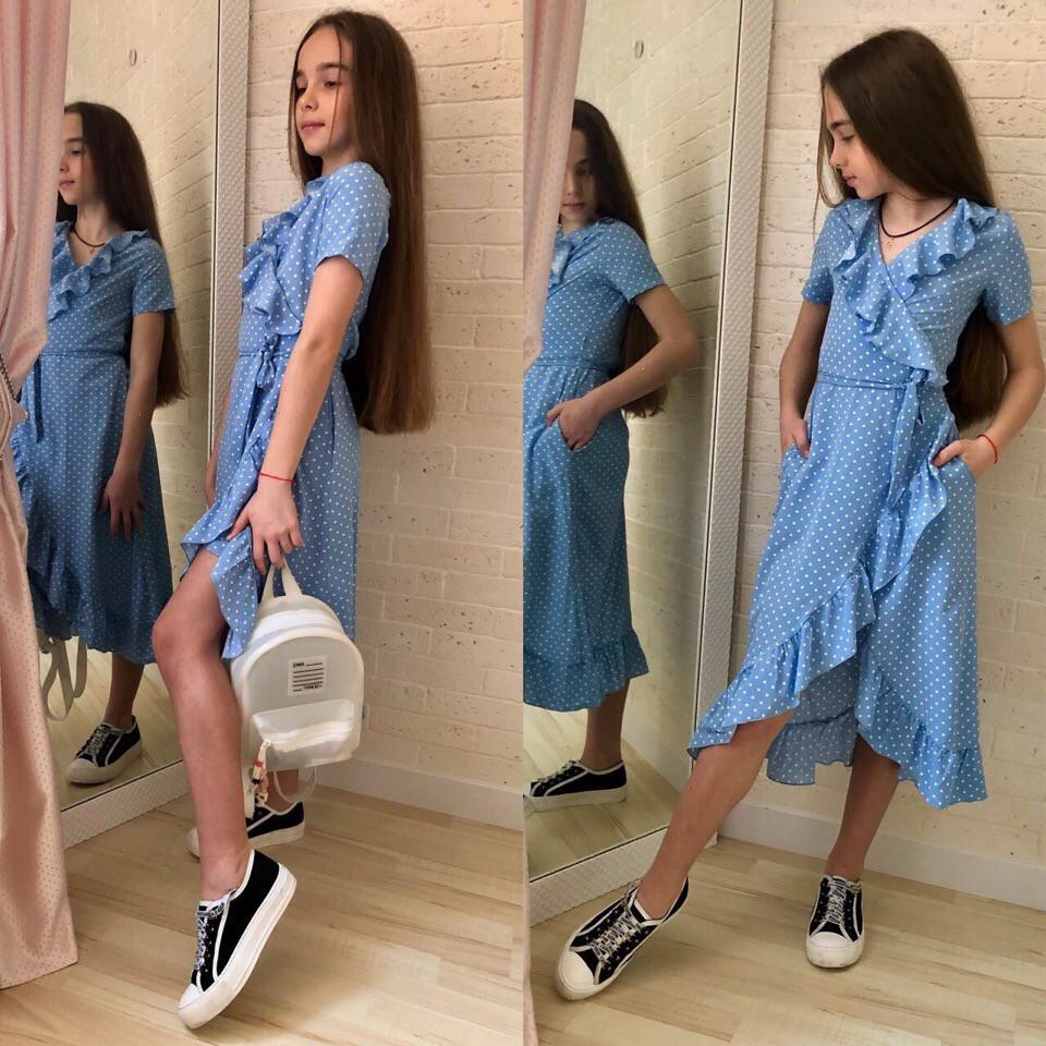 Модный сарафан для девочки в горошек с рюшами