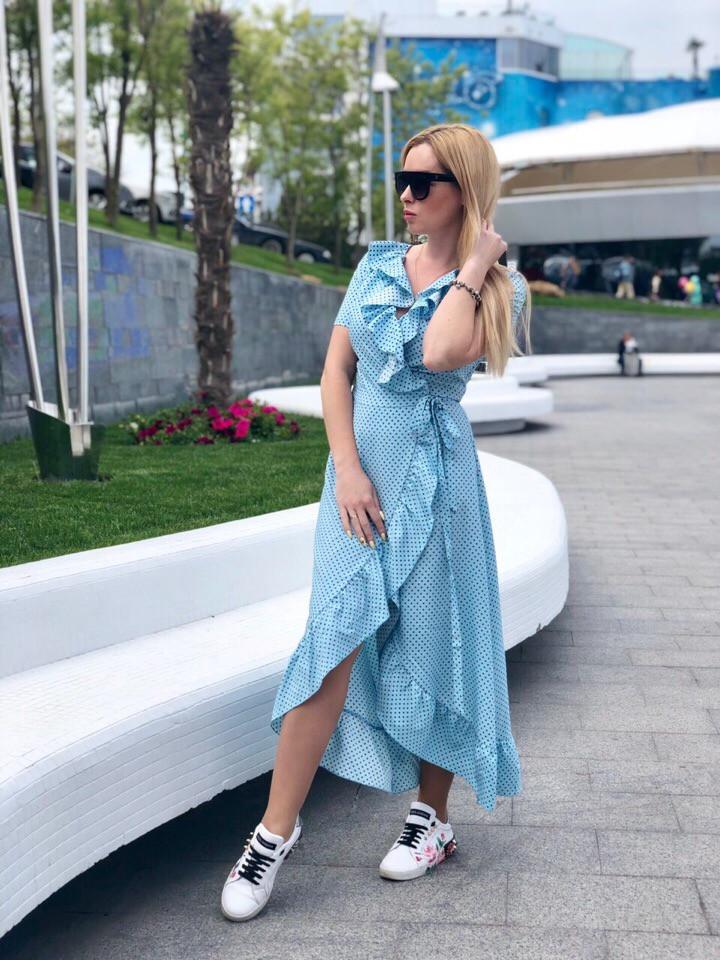 Платье женское летнее на запах в горошек асимметрия