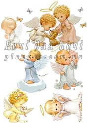 """Вафельная картинка для торта, топпера, пряника """"Ангелочки"""", (лист А4)"""