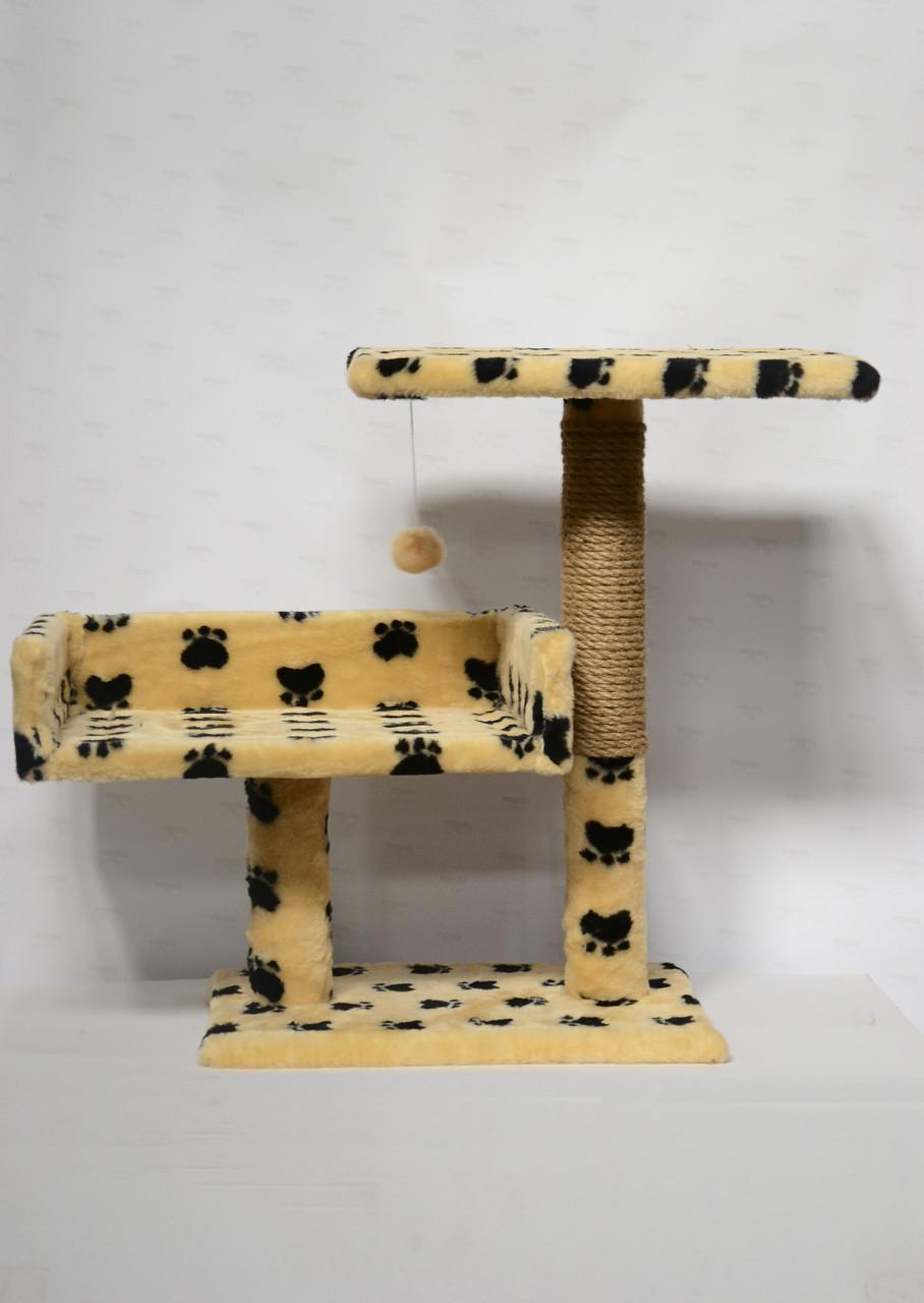 Дряпка с диваном и полкой для котов Пушистик, бежевая с лапками, 55 см