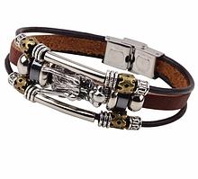 Кожаный браслет «Ouroboros» 21-22 см коричневый