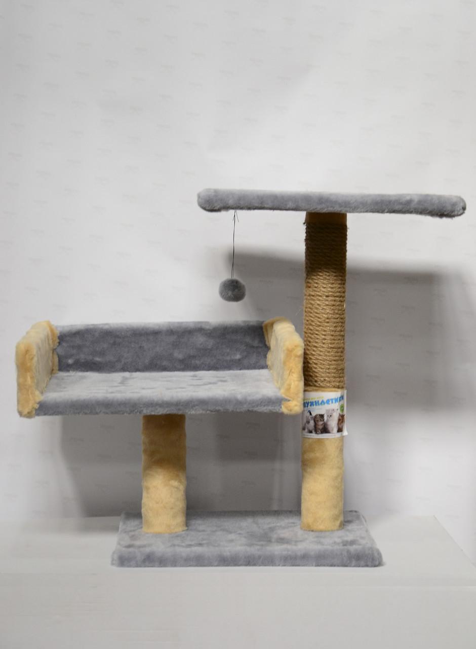 Дряпка с диваном и полкой для кошек Пушистик, серая с бежевая, 55 см