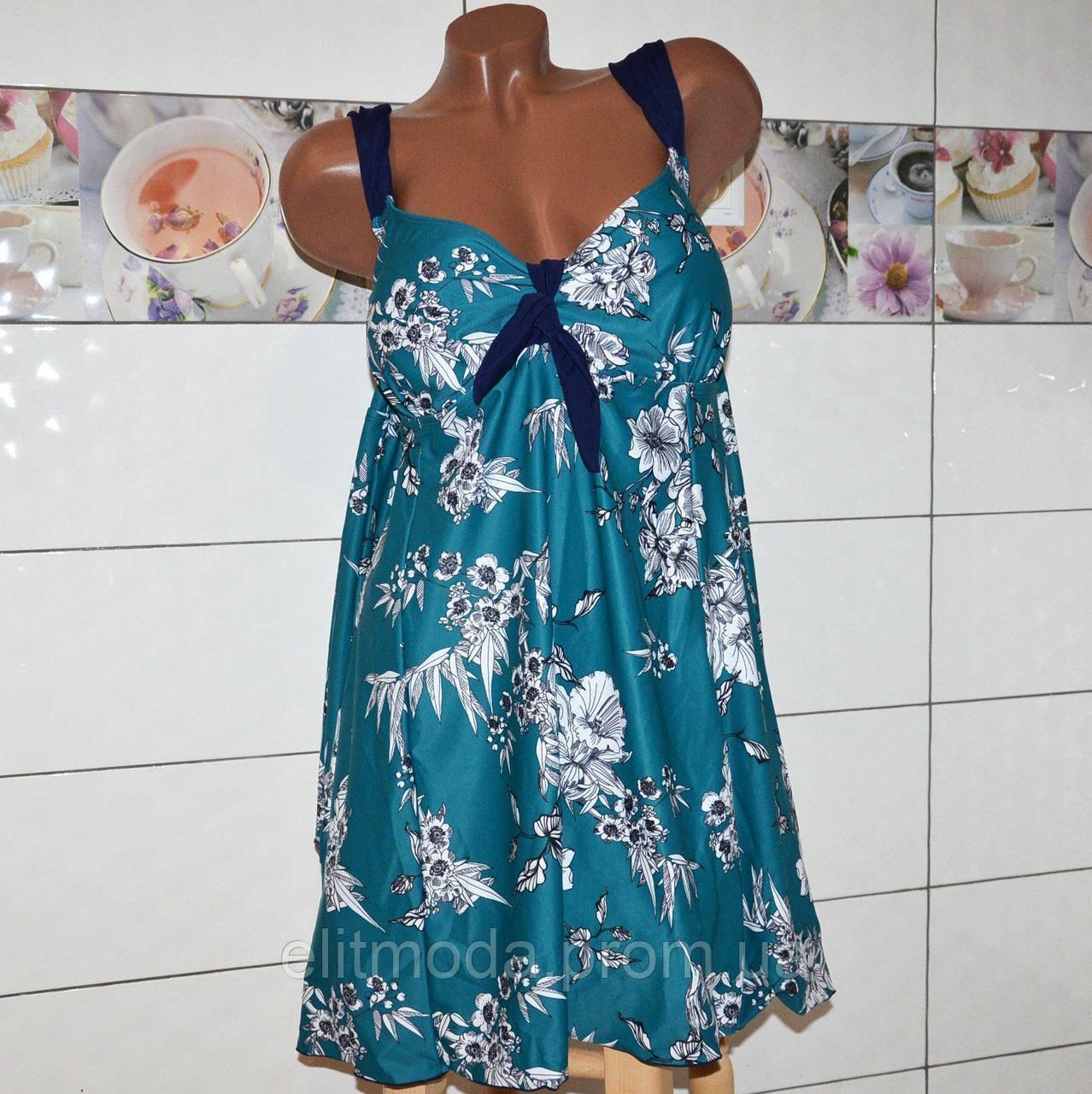 a5d46da9b8580 Большой 74 размер! Красивый модельный зеленый купальник платье для полных  женщин, высокие плавки.