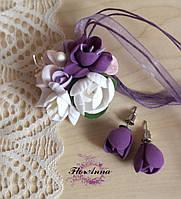 """Комплект украшений с цветами из полимерной глины """"Воздушный пурпур"""", фото 1"""