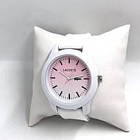 Стильные часы Lacoste в бело-розовом