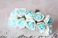 Розочки латекс (ФОМ) 2 см диаметр мини 144 шт. оптом бело-голубого цвета на стебле, фото 1