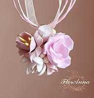 """Кулон с цветами из полимерной глины """"Розовый шарм"""", фото 1"""
