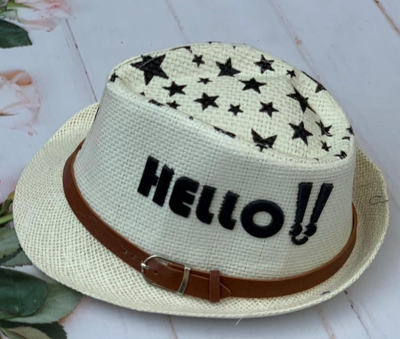"Детская шляпа-челентанка ""Hello"" Размер 52-54 см. Светло-бежевая. Оптом."