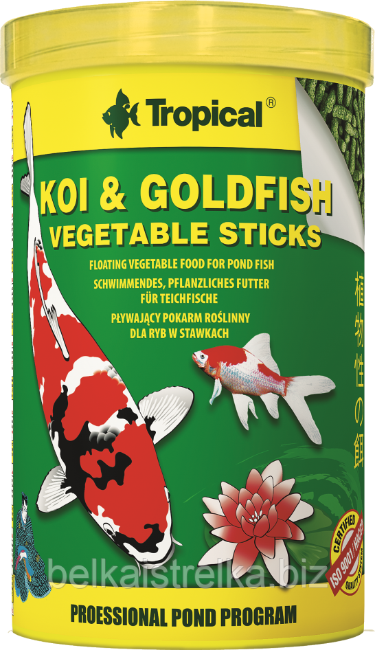 "Корм Tropical Koi & Goldfish Vegetable Sticks 40344, 1л/90г - Интернет-магазин ""Belka i strelka"" в Харькове"