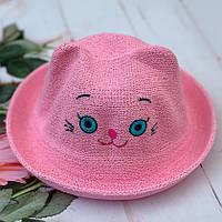 "Детская шляпа-челентанка ""Мордашка Кошки"" Размер 52-54 см. Розовая. Оптом."