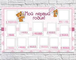 Плакат 12 месяцев Медвежонок девочка, 75х120 см (рус)