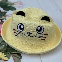 "Детская шляпа-челентанка ""Мордашка Котика"" Размер 52-54 см. Бежевая. Оптом."
