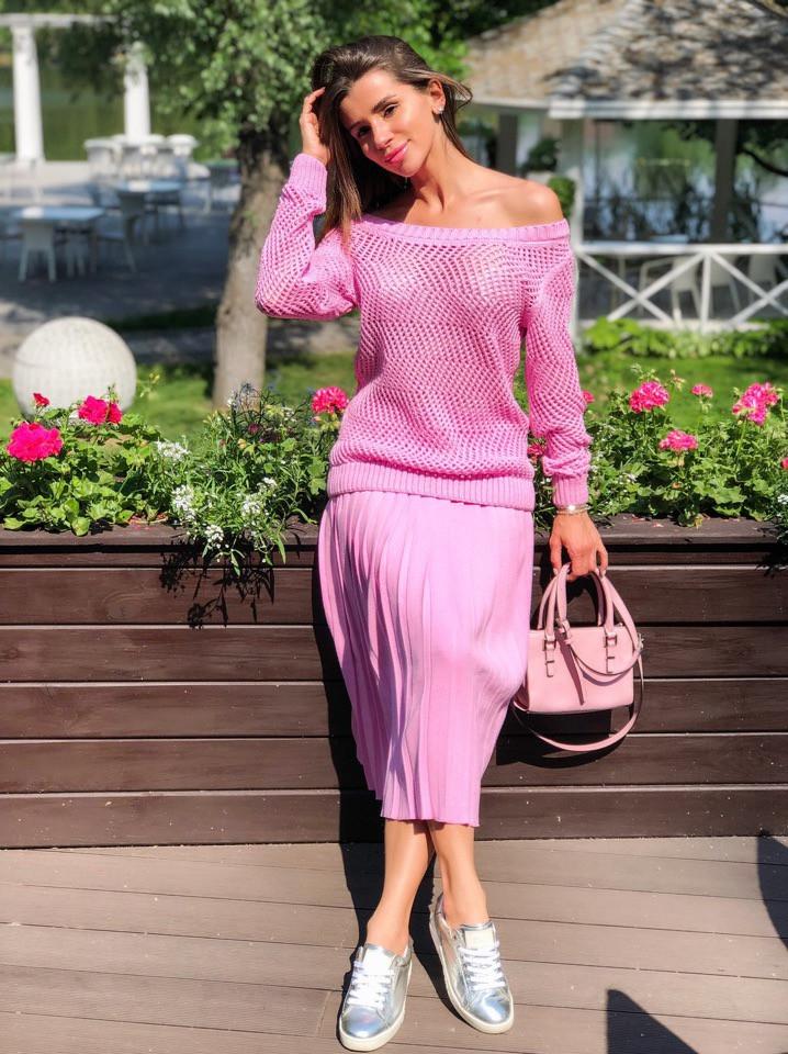 80f6df20de4 Костюм женский красивый модный вязаная кофта и юбка плиссе миди Kdi1060