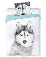 Комплект постельного белья Молодежный Хлопковый NR 287 Carbotex 3144 Белый, Синий, Серый