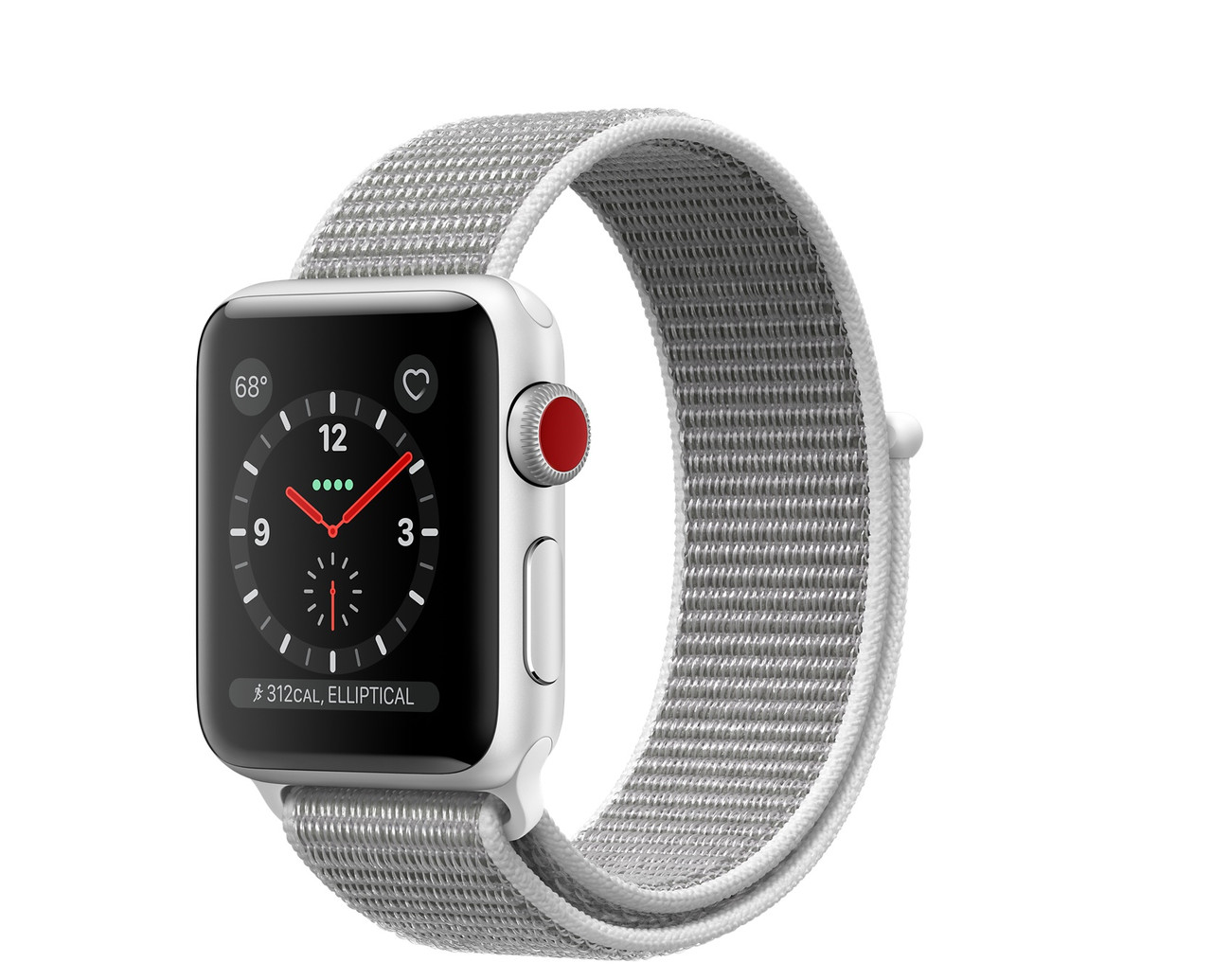 Apple Watch Series 3 GPS + Cellular 42mm Silver Aluminum with Seashell Sport Loop (MQK52)