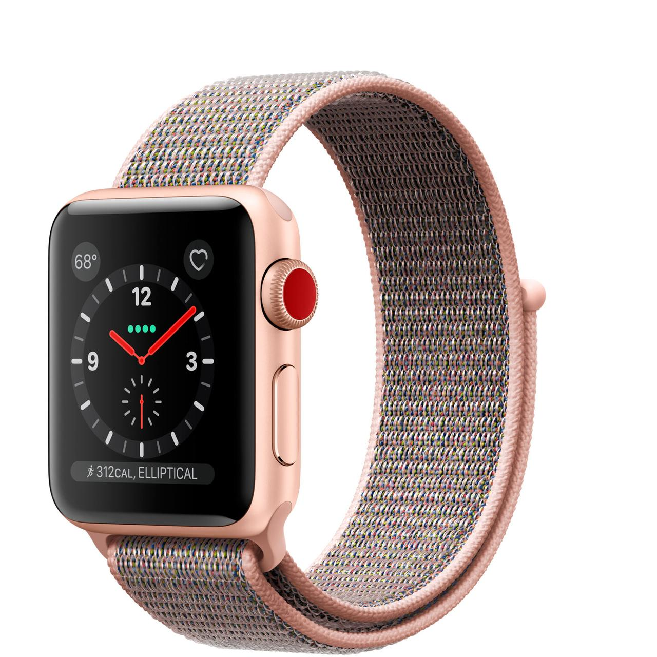 Apple Watch Series 3 GPS + Cellular 38mm Gold Aluminum with Pink Sand Sport Loop (MQJU2)