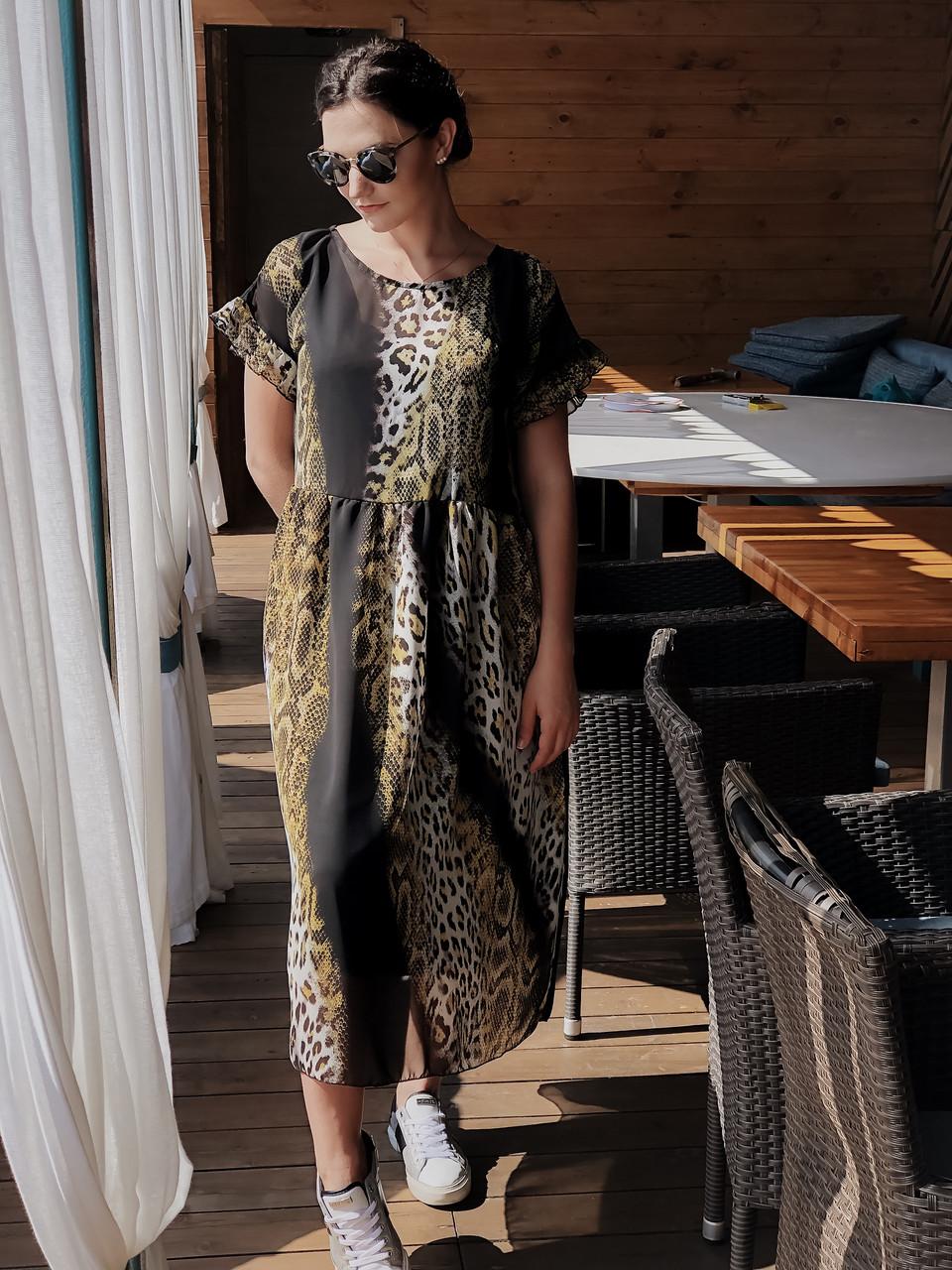 Шифоновое платье длины миди 04057