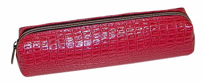 Пенал-косметичка одно отделение на молнии искусственная кожа,красный лаковый  13078