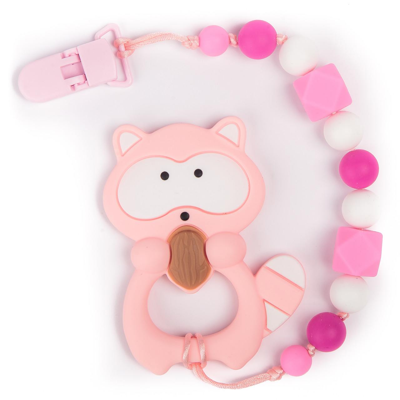 Силиконовый прорезыватель BabyMio Енот Розовый (PROYE5)