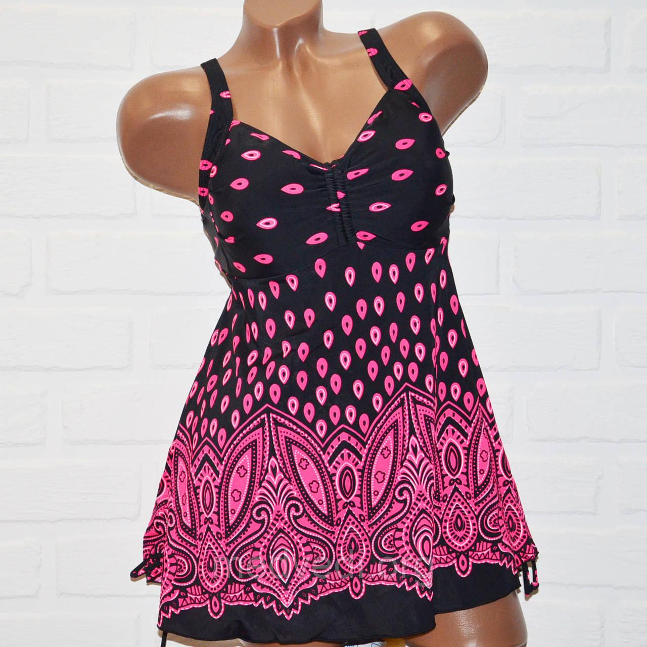 Танкини большой размер 54 черный с розовым рисунком, купальник платье шорты