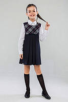 Школьный сарафан Suzie Натали, цвет синий с розовой полосой