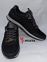 Мужские кожанные кроссовки Splinter черные, сетка, белые вставки на подошве