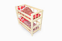 Деревянная двухъярусная кроватка для кукол Светло-бежевый (33-SAN002)