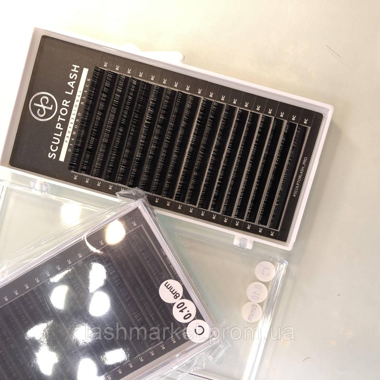 Ресницы C 0,10 * 7 mm Sculptor Lash Diamond Black