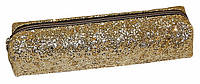 Пенал-косметичка одно отделение на молнии искусственная кожа,крупный глиттер золото  13100